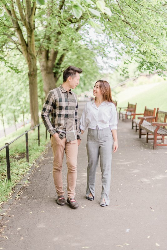 engagement shoot in Princes Street Gardens Edinburgh - Photo by fine art wedding photographer Cristina Ilao www.cristinailao.com