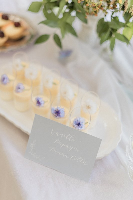 2019 Wedding Trend Luxury Patisserie Table: The Patisseria by MonAnnie Cakes and Alexandra Rose Weddings. A branding shoot at the Belmond Le Manoir Au Quat Saisons by Filipina fine art destination wedding photographer Cristina Ilao Photography | In Photo: Vanilla Papaya panna cotta