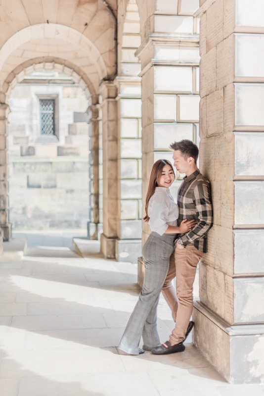 Engagement shoot at the courtyard behind St Giles Cathedral. Also known as the High Kirk of Edinburgh, the cathedral is the principal place of worship of the Church of Scotland in Edinburgh. Photo by fine art destination wedding and lifestyle photographer Cristina Ilao of Cristina Ilao Photography. See more at www.cristinailao.com. Tags: Edinburgh wedding photographer, UK destination wedding photographer, St. Giles cathedral, best photo spots in Edinburgh, fine art weddings, Edinburgh elopement, pre-wedding, post-wedding lifestyle session, lifestyle photographer, UK lifestyle blogger