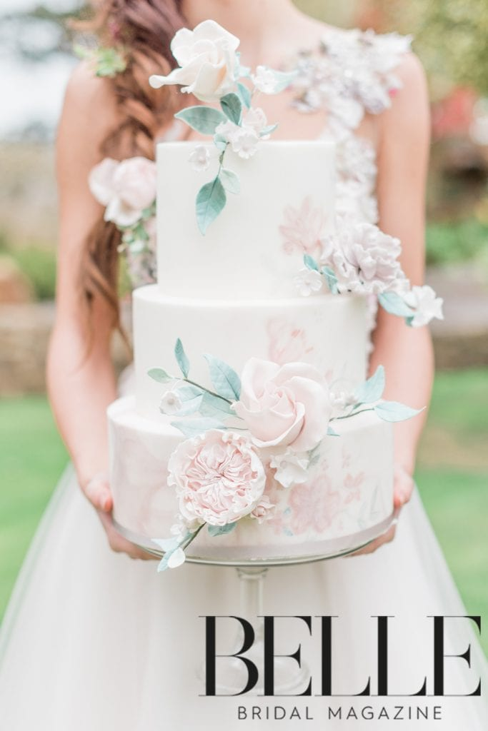 Sadie May Cakes three tier wedding cake with david austen sugar flower roses - featured in Belle Bridal Magazine and shot by Cristina Ilao Photography