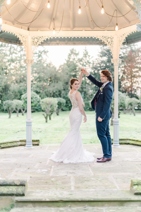 Fairytale wedding first dance inspiration at the Thicket Priory gazebo. Creative Team: Venue: Thicket Priory Photography: Cristina Ilao Photography Stationery: Katie Sue Design Co Cake & desserts: Sadie May Cakes Styling & floristry: Flori and Fern Make-up: Amanda Bell Hairstyling: Vicky Medhurst of Contemporary Yarm Dress: Christian Alexander Bridal Suit: Bakers Tailoring Accessories: What Katy Did Next