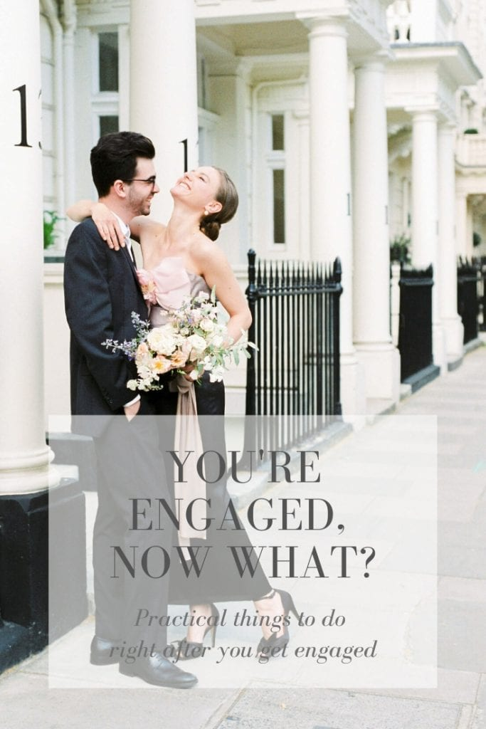 Practical Things to Do After You Get Engaged Photo: Engagement shoot in Kensington, London featuring a pink, grey and black Marchesa off-shoulder ombre silk gown and black Bella Belle silk peep toe evening shoes. Flowers by Lucy the Flower Hunter, styling by East Made Co, Photo by Cristina Ilao.