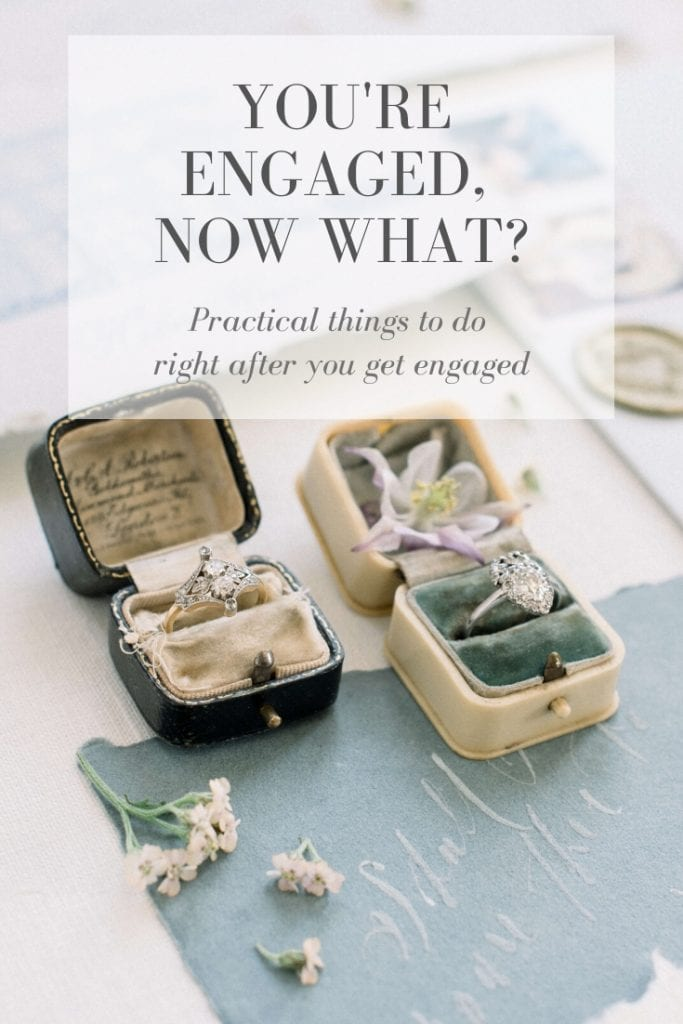 Practical Things to Do After You Get Engaged Photo: Victor Barbone diamond vintage engagement rings. Styled by East Made Co, calligraphy by Shotgunning for Love, shot at Hedsor House, Buckinghamshire United Kingdom. Photo by Cristina Ilao