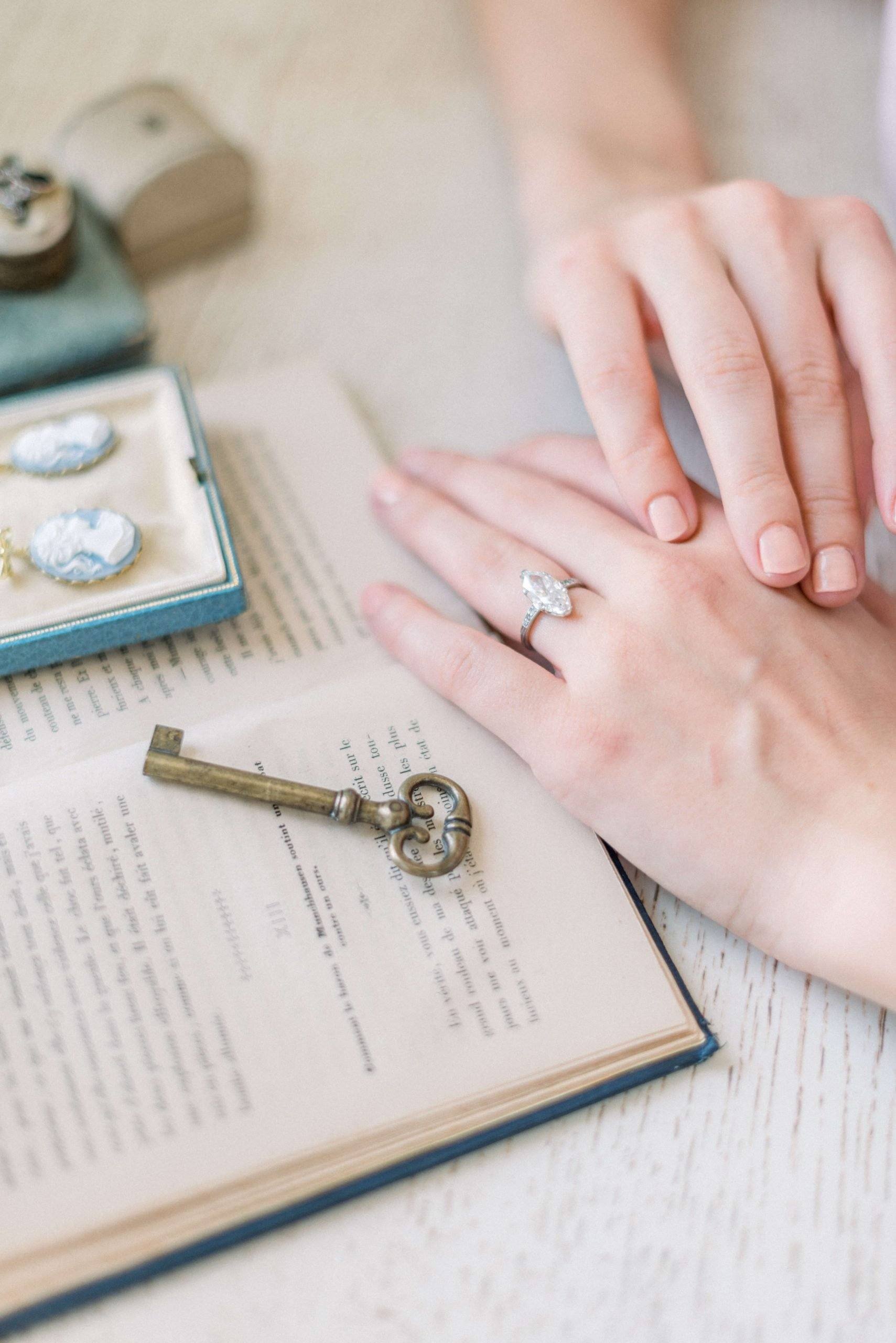 Practical Things to Do After You Get Engaged  Photo: Victor Barbone Madrid Ring featuring a large 4.02 carat Moval Diamond. Engagement Ring is from the Art Deco Era, circa 1920. Styled by East Made Co, shot at Hedsor House, Buckinghamshire United Kingdom. Photo by Cristina Ilao