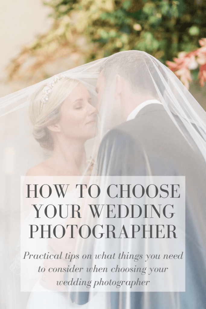 Practical tips on how to choose your wedding photographer. In Photo: bride and groom under a wedding veil. bride wearing a simple white off-shoulder mermaid style wedding dress