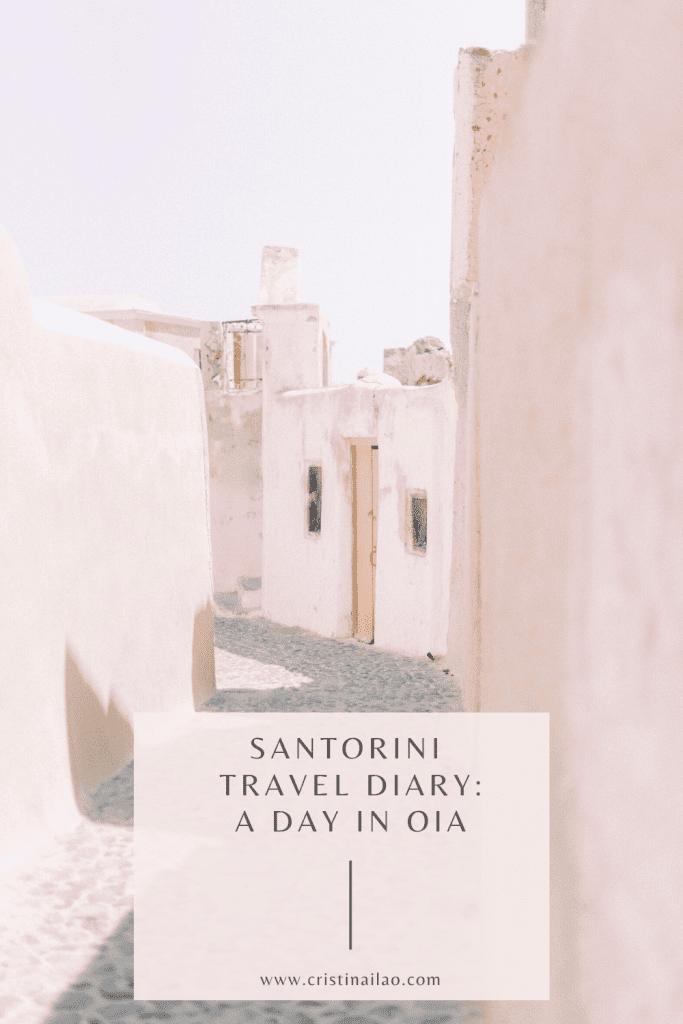 Santorini blush walls and empty street Photography by Cristina Ilao www.cristinailao.com