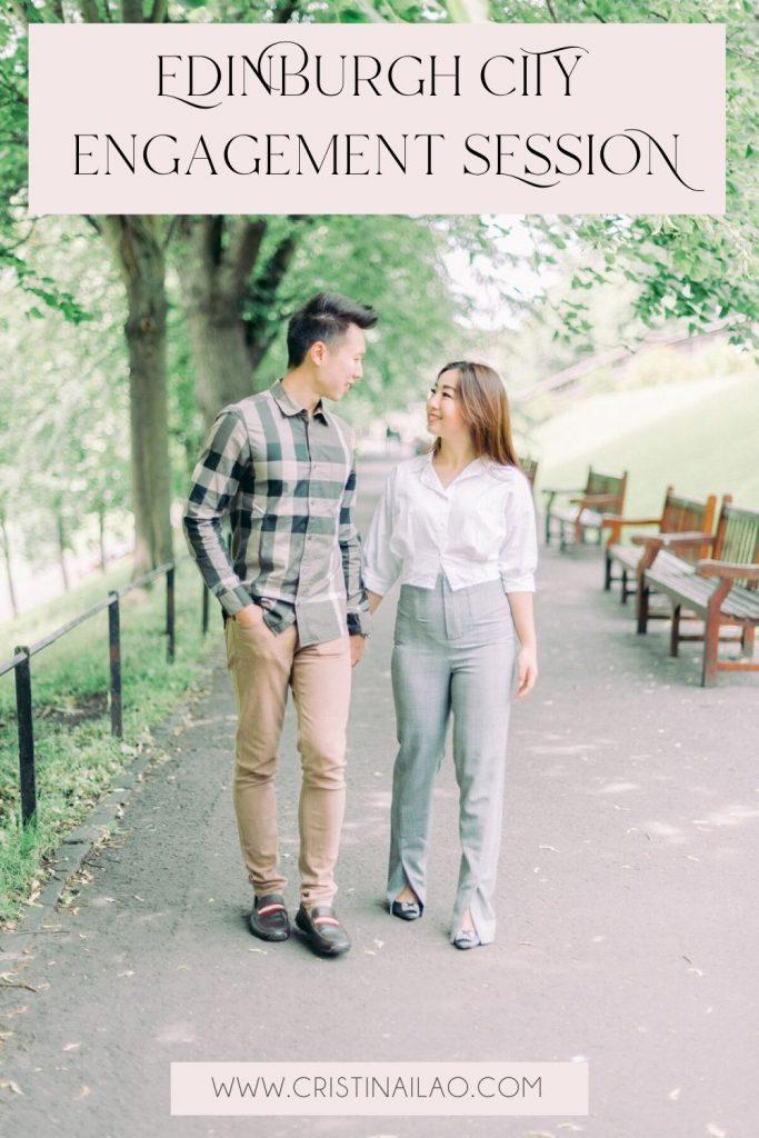 Edinburgh Things to do - Royal Mile Princes Street gardens engagement session by Cristina Ilao Wedding Photographer