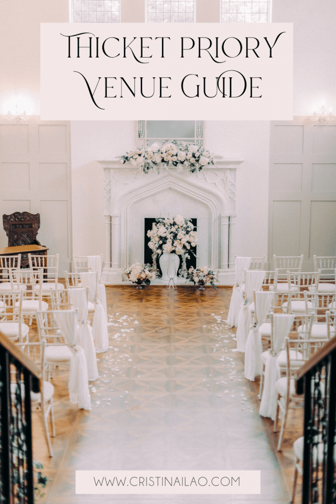 Thicket Priory - the Best wedding venue in Yorkshire and North East England. This is the Morning Room which is a light filled wedding ceremony room with a large marble fireplace, wooden flooring and wooden panels and large windows. Perfect venue for light and airy fairytale spring weddings. Styled by Flori and Fern and captured by UK wedding photographer Cristina Ilao