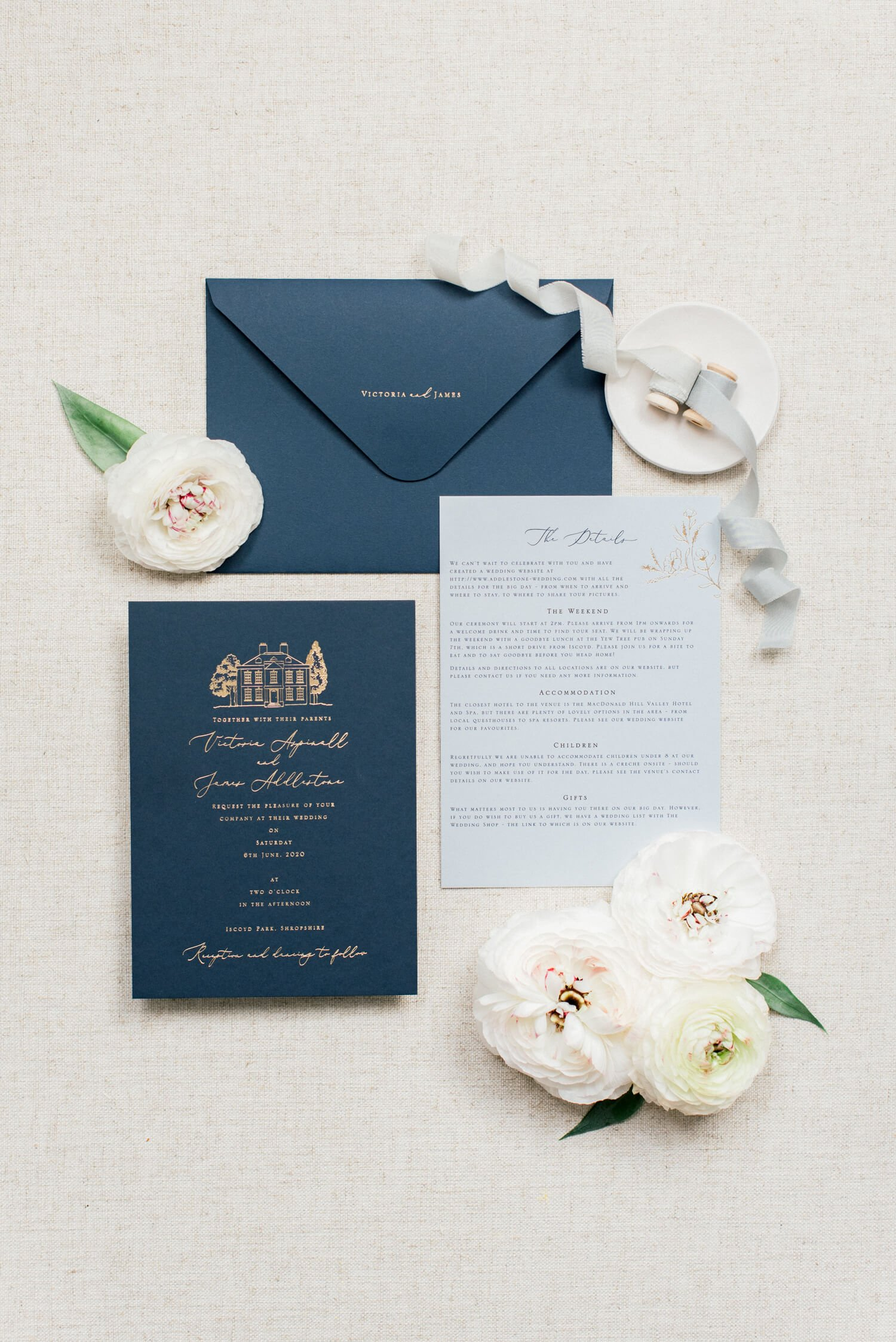 simple and elegant wedding stationery suite flatlay: Navy blue and pale blue wedding invitation with gold foiling by Katie Sue Design Co, Silk Ribbons by Silk and Purl. Styling and Photo by Newcastle wedding photographer Cristina Ilao www.cristinailao.com