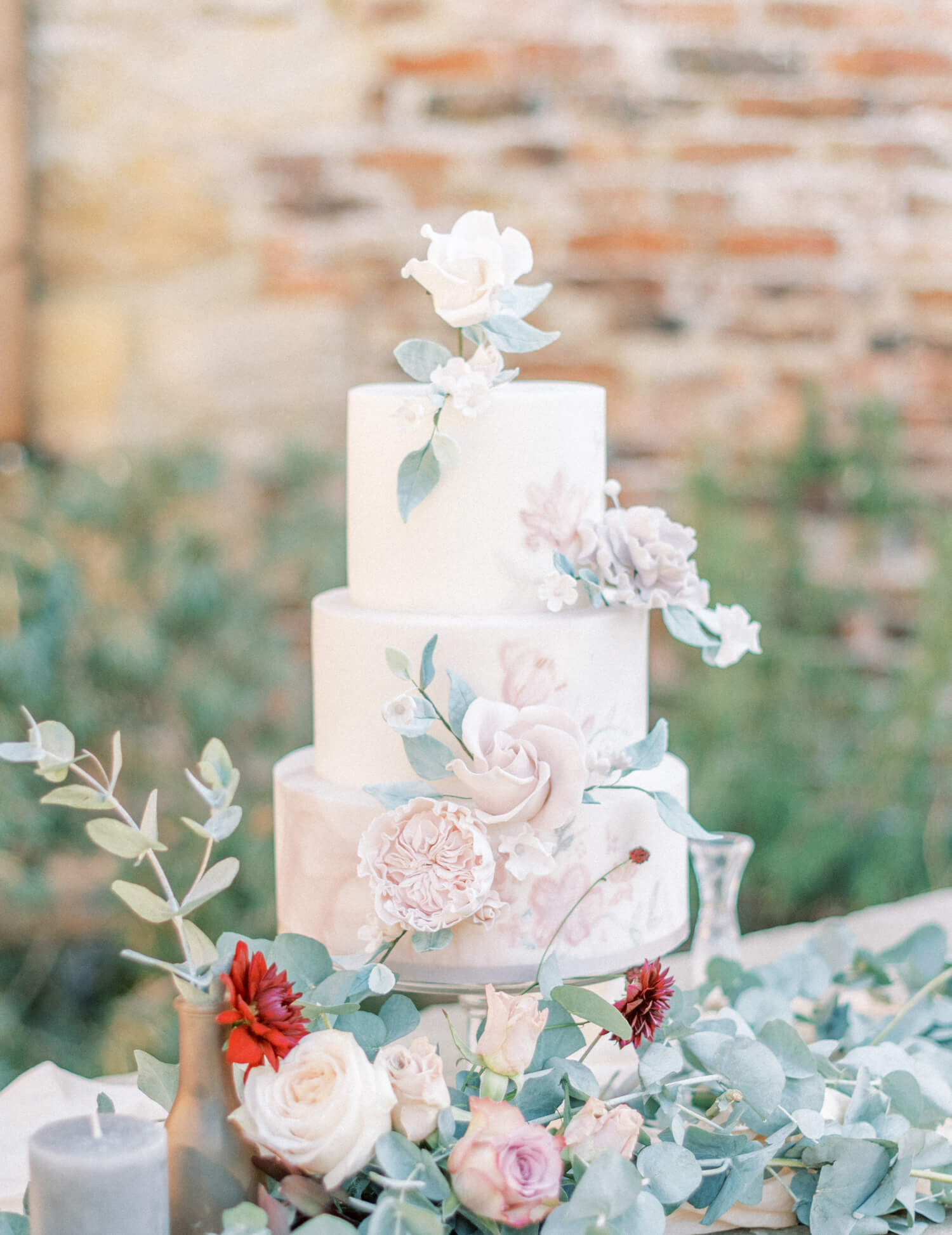 dreamy three tier hand painted pastel wedding cake with blush pink roses and peony sugar flowers by sadie may cakes. photo by cristina ilao photography