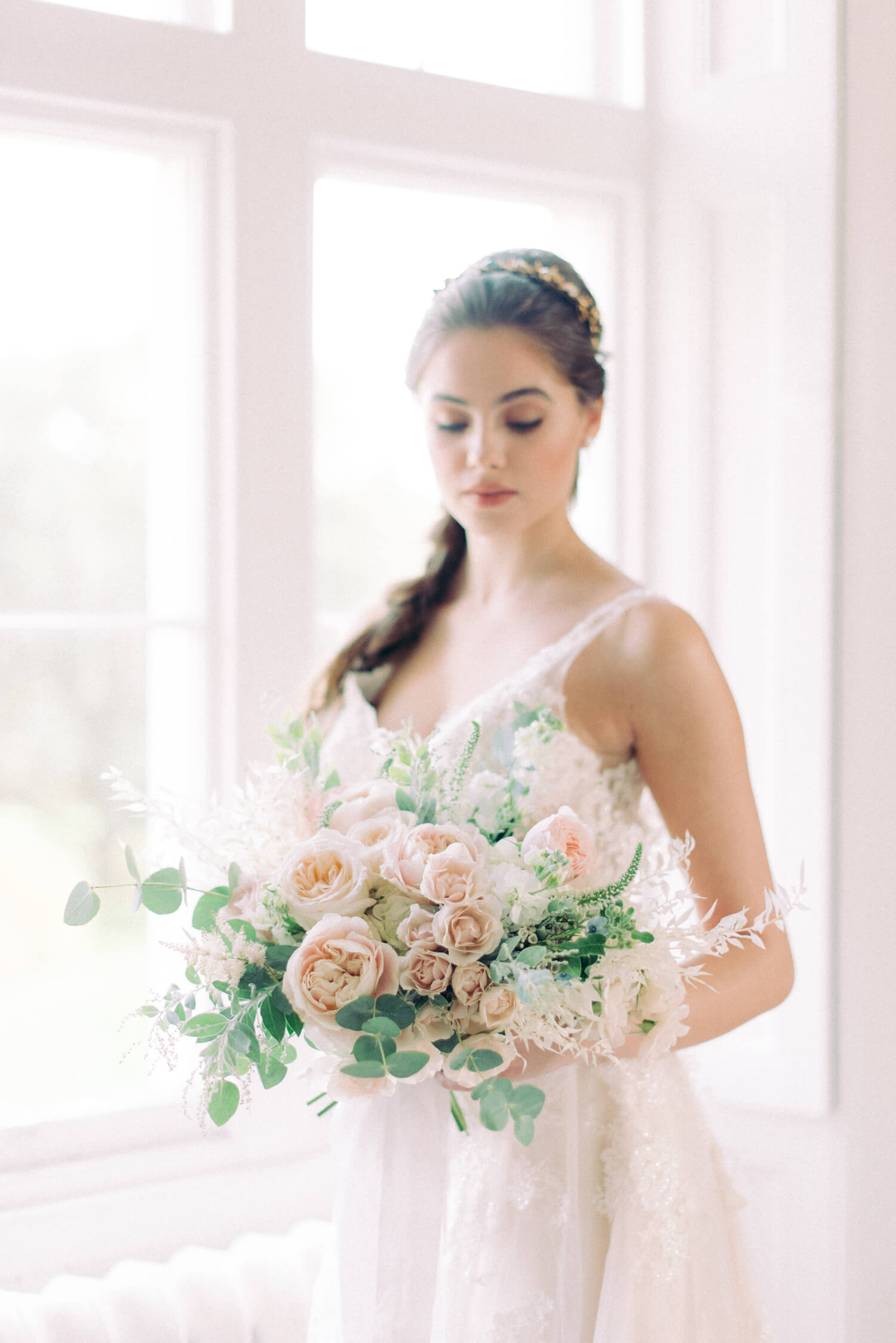 fairytale flowers with peach and blush blousy and spray roses and eucalyptus - bouquet by Flori & Fern - Thicket Priory wedding editorial by Filipina destination wedding photographer Cristina Ilao