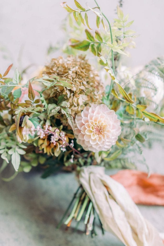autumn wedding wild flower bouquet with Dahlia, hydrangea & foliage by Firenza Flowers | English Countryside Autumn Wedding at a Flower Farm | Photos and Text by Cristina Ilao Photography