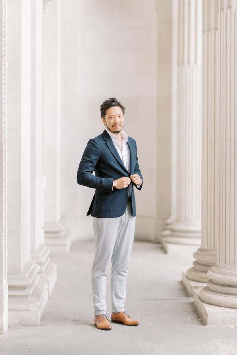 London Engagement Shoot in Kensington & Chelsea Old Marylebone Town Hall by Cristina Ilao Fine Art Wedding Photography   In Photo: civil registry humanist wedding groom outfit ideas, elegant, simple and classy style, men's fashion